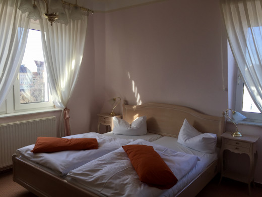 My lovely corner room on the top floor of the Silberhof which had a view over Freiberg city