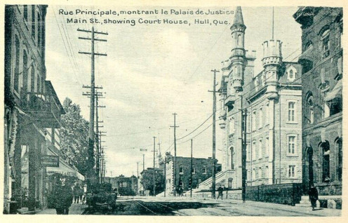 "Postcard of ""Main Street"" in Hull, Quebec, Canada, showing the court house. Circa 1908"