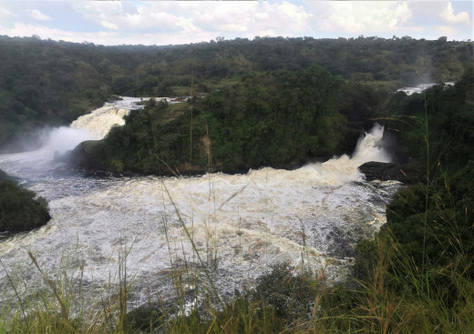 Uhuru falls (on the far left) adjacent to Murchison falls, viewed from the top of the falls