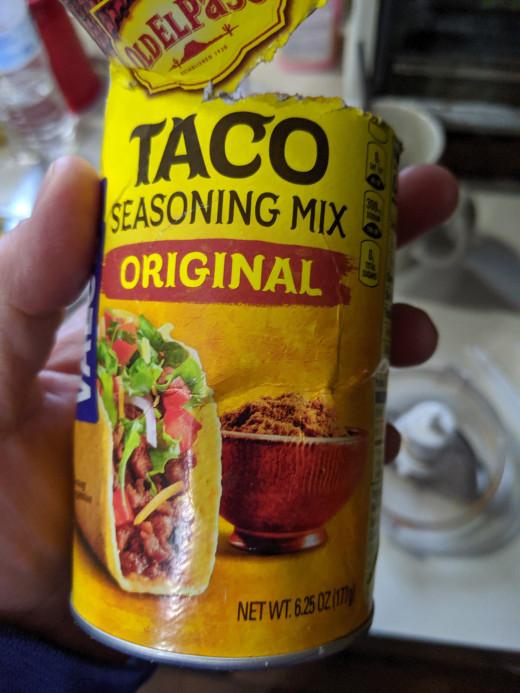 1/4 cup taco seasoning, 2/3 cup water