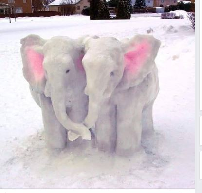 There are snow elephants in this picture.