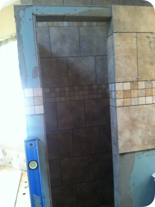 Next step was tiling the shower