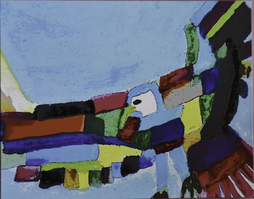 This one was done by using only a sponge brush, in almost a cubism style