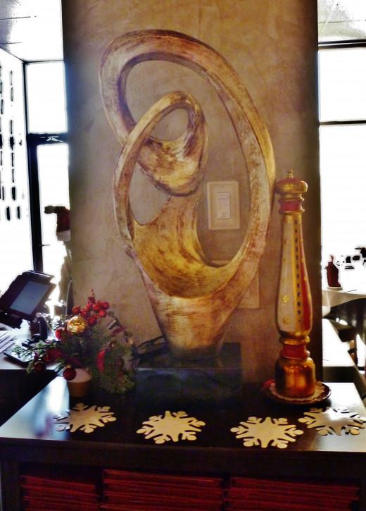 Sculpture inside of the restaurant
