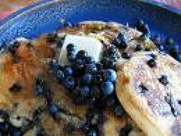 Pancakes topped with Blueberries