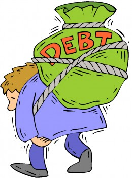 Man burdened with debt.