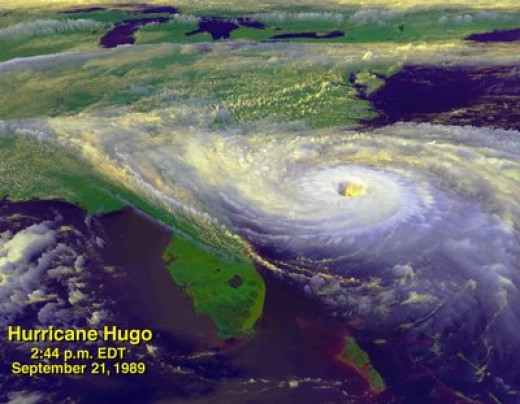 Enhanced satellite image of Hurricane Hugo on the day it made landfall along the South Carolina coast. (image courtesy of NASA)