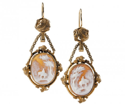 19th century gold cameo earrings for pierced ears by Swedish designer, Gustaf Möllenborg.