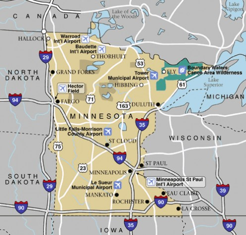 Woodbury is near the Minneapolis - St. Paul International Airport.