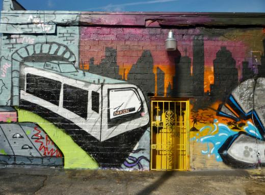 Closeup of a wall on lo-fi store with rail transit portrayal
