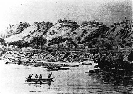 Chief Little Crow's village in 1848 (Booklet from www.nps.gov/history/history/online_books/sacr/hrs/hrs.htm)
