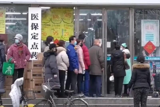 Residents of Wuhan in line to buy masks during the coronavirus outbreak.