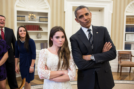 "President Barack Obama jokingly mirrors U.S. Olympic gymnast McKayla Maroney's ""not impressed"" look."