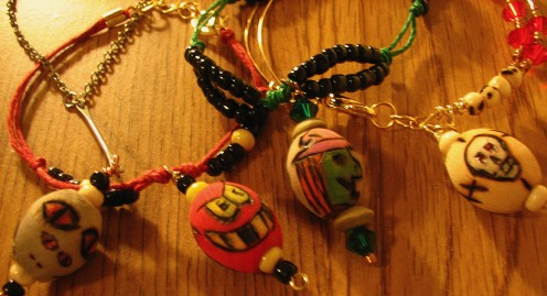 wooden beads, crystal beads, a little pyrography and a touch of acrylic paint can turn a bracelet in to Extreme jewelry Halloween