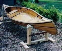 An illustration of how the canoe rests in a home built cradle.
