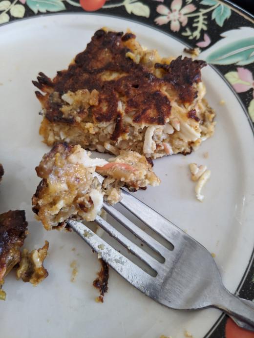 Firm, crisp outside, eggbake inside
