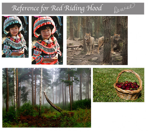 I chose these reference photos for my illustration of Red Riding Hood.  I loved the little Hmong girl's outfit and just changed the colors in her hat and dress to red.