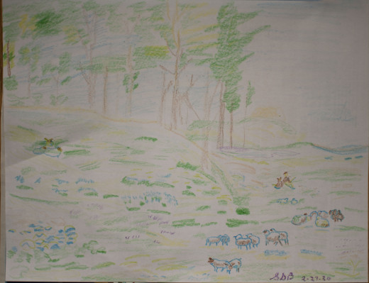 This was done in an impressionistic style using crayons.