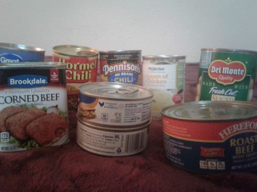 A variety of canned meats