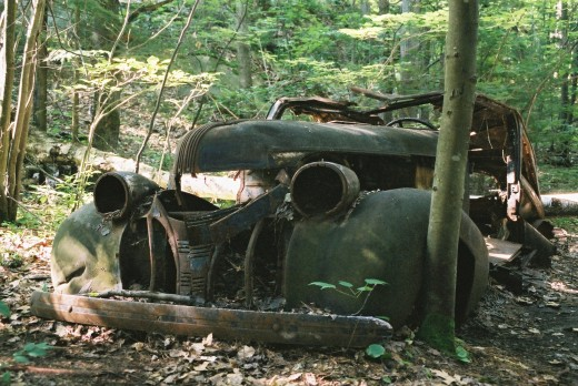 Not something you come across in the forest usually while hiking. I tried to look for a road but I did not see one - I have absolutely no clue how that car ever got to the middle of the forest whenever it got there.