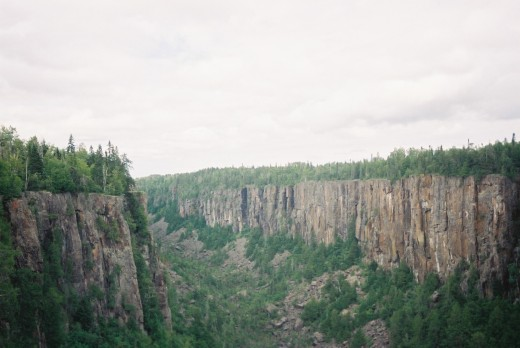 I found a sort of canyon in Ontario somwhere close to Thunder Bay close to a Provincial Park where I camped - I do not remember the exact location. The shot was taken from an extendable bridge - as I was told one of the longest in North America.