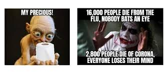 """Lord of the Rings Meme: """"my precious"""" gollum holding roll of toilet paper.  Joker Meme: """"16,000 people die from the flu, nobody bats and eye"""" """"2800 die from corona, everyone loses their mind"""""""