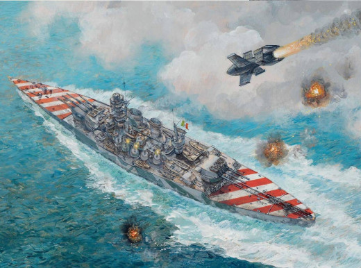The sinking of the battleship Roma, one of the most dramatic moments of the battles surrounding the Italian armistice.