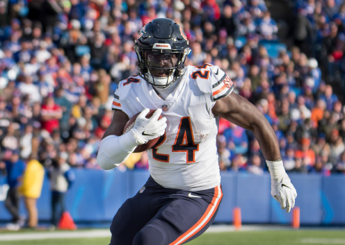 Former Chicago Bears running back Jordan Howard on a run against the Buffalo Bills