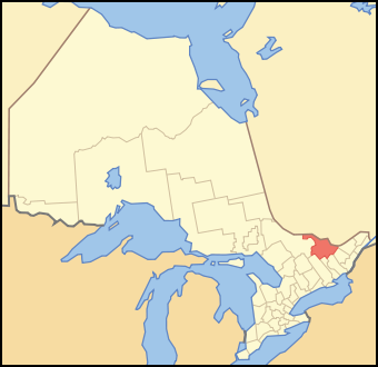 Map of Ontario highlighting Renfrew County