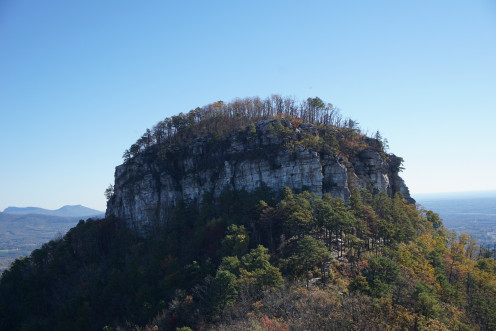"""The Big Pinnacle at Pilot Mountain State Park in Pinnacle, North Carolina.  There is a trail that circles the base of this """"knob"""" called the Jomeokee Trail, which is one of my favorites, and is 0.8 moderate hike."""