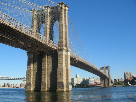 "The Brooklyn Bridge.  The Brooklyn and Manhattan bridges were blown by US Navy F/A-18s in the movie ""I Am Legend""."