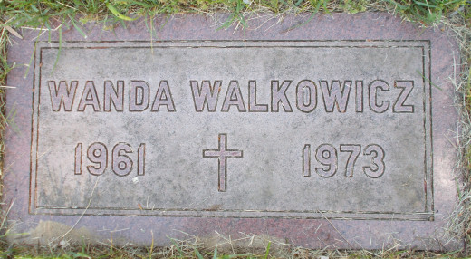 Gravestone of Wanda Walkowicz at Holy Sepulchre Cemetery in Rochester, New York where all three victims were buried.