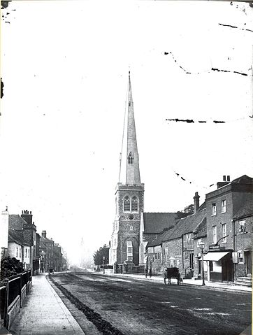 Southampton Street, looking northwards, c. 1875. On the east side, St. Giles's Church
