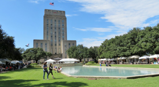 View of City Hall in Downtown Houston at the Bayou City Art Festival