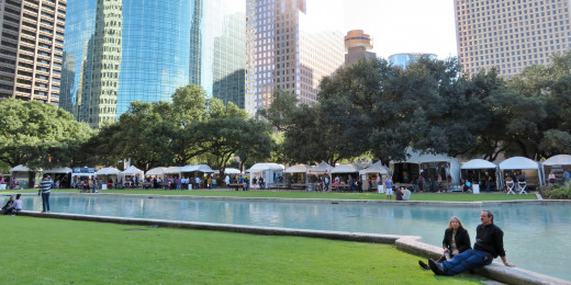 Downtown Houston during the Bayou City Art Festival
