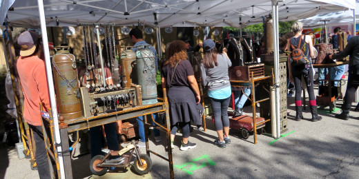 Unique staging for jewelry sales in this booth at the Bayou City Art Festival