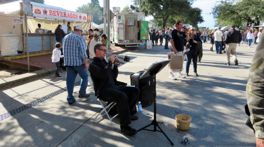 Zachary Lerner, one of the entertainers at the Bayou City Art Festival in downtown Houston.