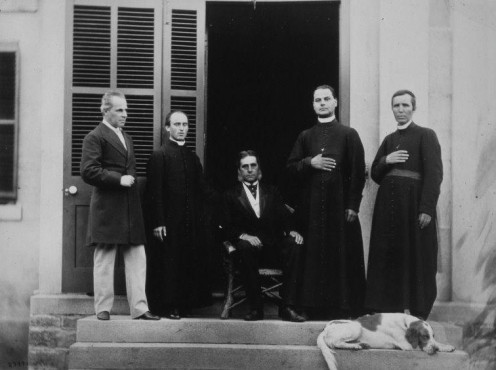 The Hon. George Étienne Cartier, M. Cuvillier and three clergy, Montréal, QC, 1867