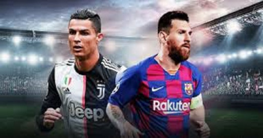 image of ronaldo in white and black jersey, messi in red and blue jersey