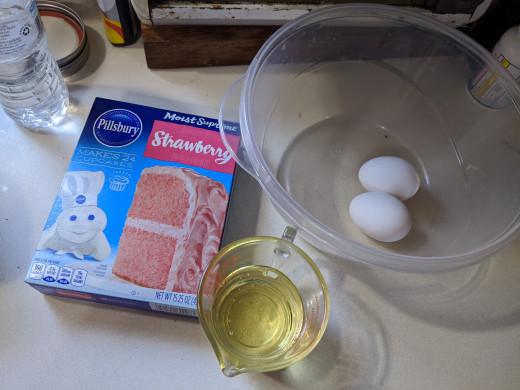 Cake mix, eggs, oil
