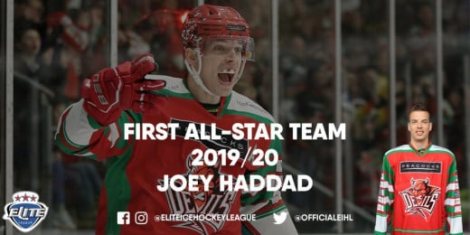 Joey Haddad received 8.56% of the nominations from fans to join the first line all-star team with forwards Sam Herr and Luke Ferrara.