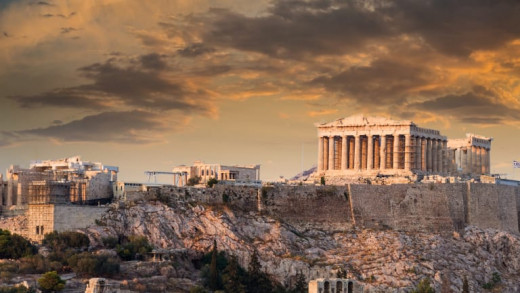 The Greek Parthenon, seen in the middle right side, is one of the most beautiful and ancient pieces of architecture in this world - built in 447 BC.