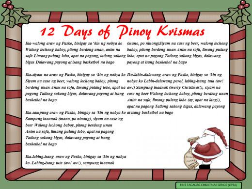 12 Days of Pinoy Christmas Lyrics