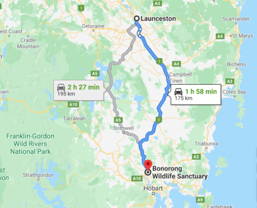 Road Map from Launceston to Hobart