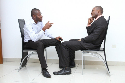 Do you see any nervousness going on during this job interview?
