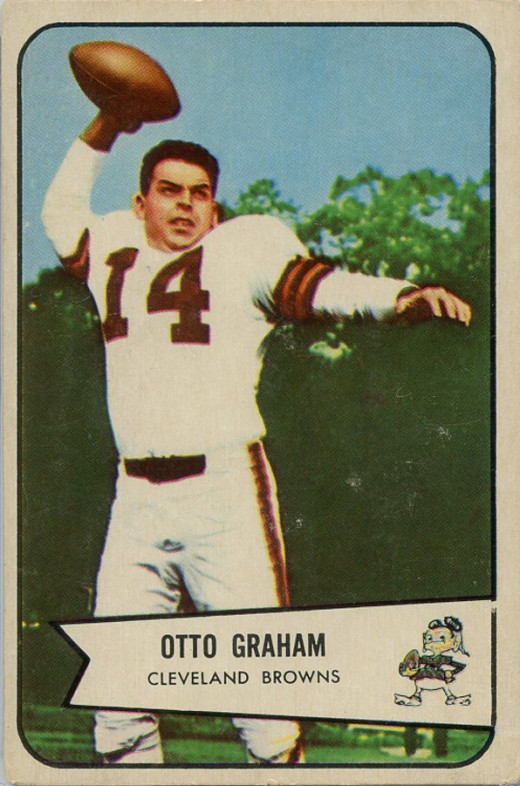 Former Browns quarterback Otto Graham is pictured on his 1954 Bowman football card. He is the only Hall of Famer to play the majority of his career as a quarterback in Cleveland.