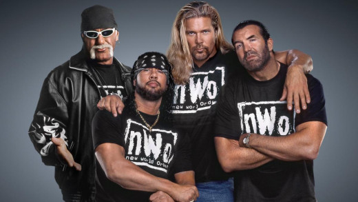10. NWO – A classic and who can forget the awesome air-guitar motion by Hulk Hogan!