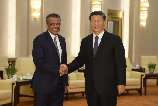 WHO director Tedros Adhanom Ghebreyesus with Chinese premier Xi Jinping on January 28