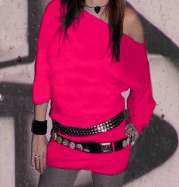 Hot pink with black belts and lotsa buttons. Stylin'.