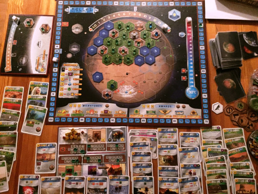 Playing Terraforming Mars, including some expansions